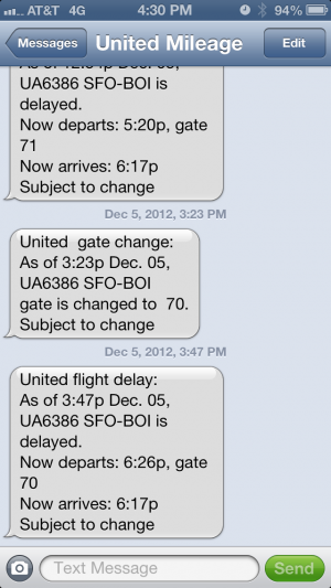 United text messages giving inaccurate times.