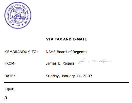 Rogers memo says 'i quit'