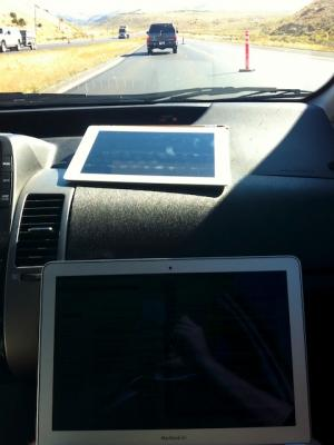 Working on computer on the road